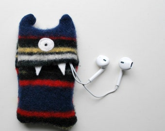 Navy Blue Stripey Monster iPod Nano or Shuffle Cozy - MP3 Player Case - iPod Case - Tween Gifts - Teen Gifts - Stocking Stuffer - Wallet