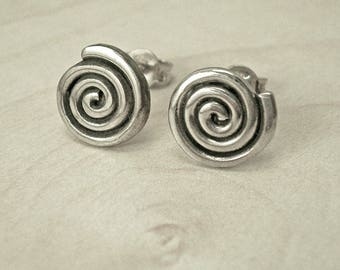 Silver stud earrings,round stud earrings,Greek stud earrings,sterling silver stud earrings,spiral stud earrings,silver spiral stud earrings