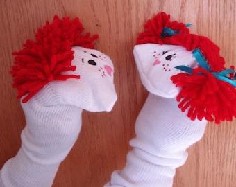 Lot de 2 chaussettes marionnettes garçon et fille en garderie cheveux fil rouge l'école l'école du dimanche VBS