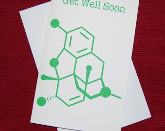 Morphine - Get Well Soon - Chemistry Nerd Greeting Card - Green
