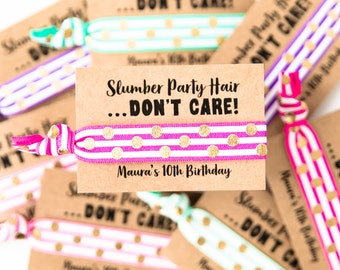 Sleepover Party Hair Tie Favors | Personalized Birthday Party Hair Tie Favors, Slumber Party Hair Tie Favors, Teen Tween Girl Birthday Favor