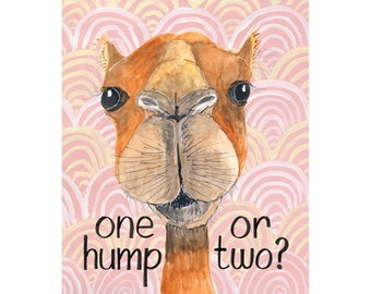 One Hump or Two camel love card, anniversary, birthday, just because, 1 2, sex, play, fun, sassy, naughty, illustration, handlettering, art