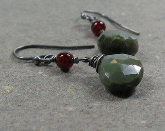 Cat's Eye Earrings Chrysoberyl Carnelian Oxidized Sterling Silver