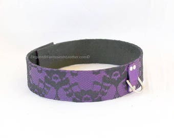 Purple and Black ... Leather & Lace Collar BDSM Slave Kink (COL 123)