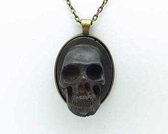 Aged Metal Finished 3D Skull Cameo Necklace