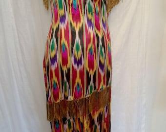 SALE WAS 135.00 Vintage 1960's Amazing Uzbek Ikat Pants and Tunic Set with Beaded Fringe