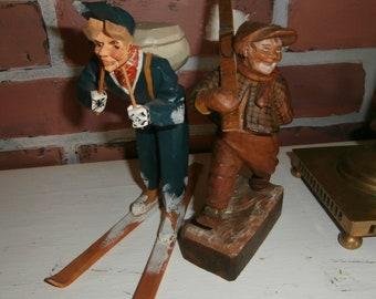 Vintage Christmas winter skiers set 2 wooden primitive all wood folk art figures