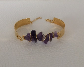 Spiral Wrapped Stone Bangle Bracelet.