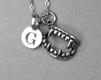Vampire Teeth Fangs Necklace, vampire charm, antiqued silver plated pewter, initial necklace, initial hand stamped, personalized, monogram