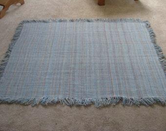 Handwoven hand spun merino wool blue blanket