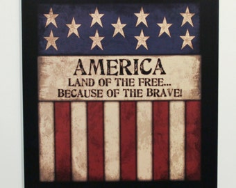 """AMERICA Land of the Free Because of the Brave 12""""x13"""" Primitive Americana Wood Sign Inspirational Home Wall Decor"""