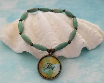 Hope / Pendant Bracelet / Beaded Bracelet / Scripture Jewelry / Christian Jewelry / Hand Painted / Charm Bracelet / Turquoise / Gemstone