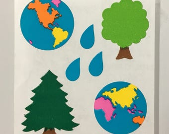 Vintage Rare Sandylion Kromekote Earth, World, Tree Stickers