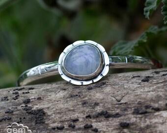 Moonstone Cuff in hand stamped sterling silver, bohemian, rustic bracelet - Moonflower -