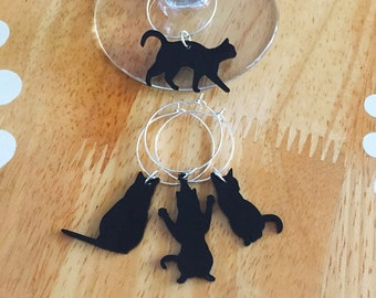Cat Wine Charms, Black Cat Wine Charms, Cat Lady Wine Charms, Cat Lady Hostess Gift