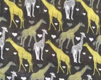 "Gold Giraffes on Black - by the half yard - 43-44"" wide, polycotton fabric, novelty fabric, giraffe fabric, african fabric, ethnic fabric"