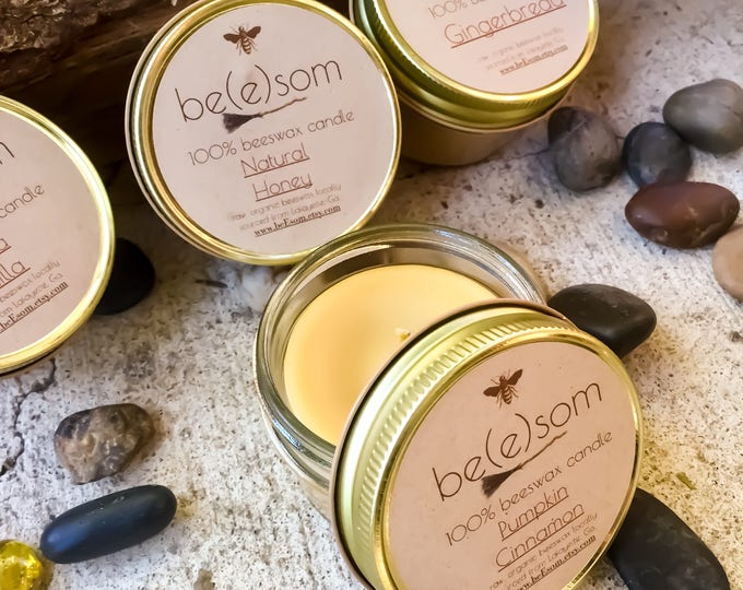New Holiday Scents! Set of 4 100% Pure Beeswax 3oz jar candle. Natural Honey, Pumpkin Spice, Ceylon Cinnamon and Gingerbread Scent.