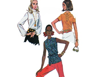 """1960's McCall's 2107 Woman's Blouses Size 12    Bust 34""""/ 86cm    Vintage Sewing Pattern"""
