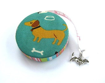 Retractable Tape Measure  Dachshunds on Teal  Measuring Tape