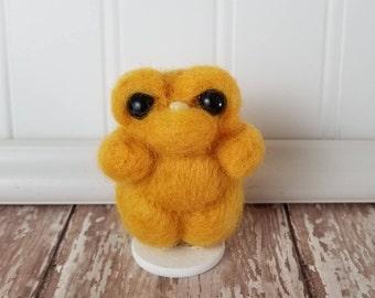 MINI **Adorable Needle Felted Wool Toothy Monster- Yellow