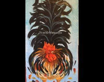 """11"""" X 24"""" #404 Fluff Tail Rooster Art on Rustic Wood"""