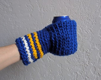 Beer Mitten / Beer Glove / Blues and Yellow / Beer Gift / Tailgating / Football Gift / School Colors / Team Colors