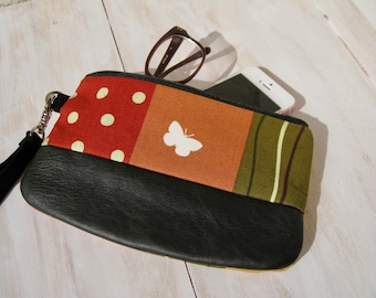 SALE 40% OFF Butterfly wristlet, black, red, cotton, leather,