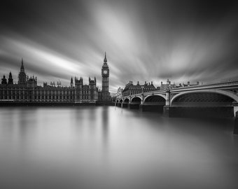 London Fine Art Photo Print: Clockwork, Big Ben, Elizabeth Tower, Parliament, Westminster Bridge and The Thames, Photograph, England,