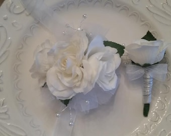Wrist Corsage White Rose Wrist Corsage and Matching Boutonniere  ON SALE