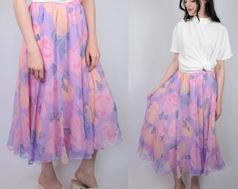 Floaty pale pastel purple and pink floral chiffon midi/maxi 1990s 90s VINTAGE