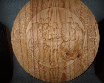 WOOD CARVINGS--The Last Supper-- NEW--14'' circle