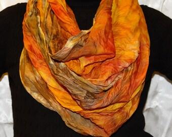 Silk circle scarves handpainted crinkle texture