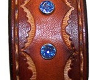 Item 050410 Tan and Blue Leather and Crystal Bracelet