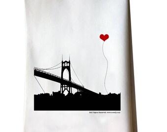 St John's Bridge in Portland Oregon Tea Towel Misprint On Sale