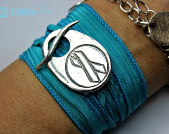 Cancer Awareness Bracelet Ovarian Cancer Awareness Ribbon Artisan Silk Wrap Bracelet
