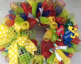 Autism Awareness Wreath Until the Pieces Fit Lime Green Windowpane mesh Ribbon Polka Dot Ribbons Puzzle Piece Red Blue Green Yellow Decomesh