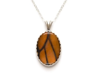 Real Monarch Butterfly Wing Necklace Sterling Silver Pendant