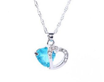 IN STOCK gift mother's day with this zircon Blue Crystal Heart Necklace