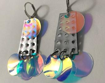 Holographic Dangle Earrings festival drag rave ethical vegan cruelty free