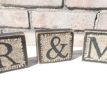 Wood Letter Blocks, Burlap and wood decor, Name blocks, monogram blocks, burlap and wood blocks, personalized wood blocks, baby gift
