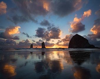 Seascape Dreams - Oregon Coast, Cannon Beach, Haystack Rock, Metal Art, Wall Art, Sunset, Reflection