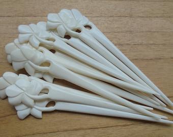 1 Prong Flower Bone Hair Sticks, Hair Pin, Hair Fork, Hair Accessories HS109-1