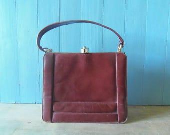French Vintage 1940's Burgundy Leather Handbag