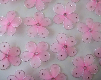 Pink Nylon Flowers Rhinestones Embellishment Craft DIY, Flower Arrangement, Sweet 16, Bapstism, Baby Showers, Party Favors, 1.5 inches