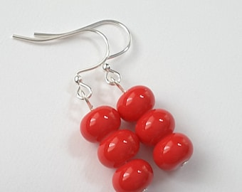 Red Triple Stacked Earrings