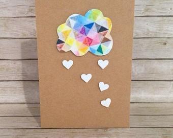 PRETTY cloud card, birthday card, colourful cloud with heart droplets, kraft card, 6 x 4 inch
