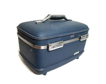 Blue Train Case American Tourister Cosmetic Suitcase