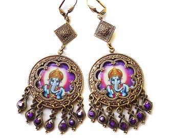 Ganesh Earrings, Ganesha Earrings, Hindu God, Gypsy Earrings, Boho Earrings, boho Jewelry, Festival,Hippie, gift,  Purple Earrings, long