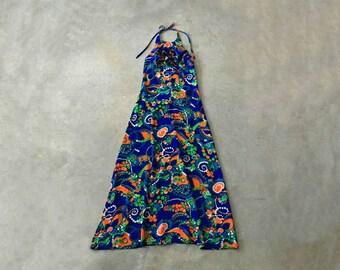 blue and green hawaiian maxi dress | long hawaiian dress women | halter maxi dress made in hawaii | 1211198