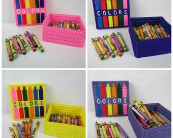 Crayon Box Holder, Kids Crayon holder, Childs color box, plastic canvas crayon box, girl crayon box, handmade crayon keepsake box